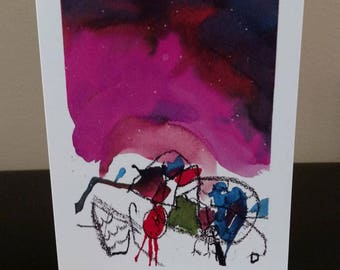 """Blank Notecard 5.5x4.25 """" Olivia's First Water Color at 3 years old - 10 Cards"""