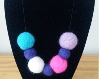 Handmade Felt Ball Necklace