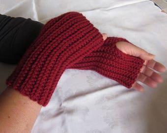"""fingerless gloves """"thick rib"""", burgundy"""