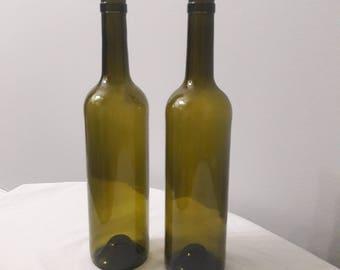 Empty Clean Olive Green Wine Bottle