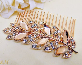 Rose Gold Hair Comb, Blush Wedding Hair Comb, Rose Gold Headpiece, Leaf Hair Accessory, Crystal Hairpiece,  Bridal Hair Accessory
