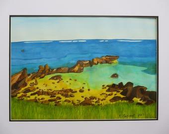 Lord Howe Island Rockpool in Watercolour