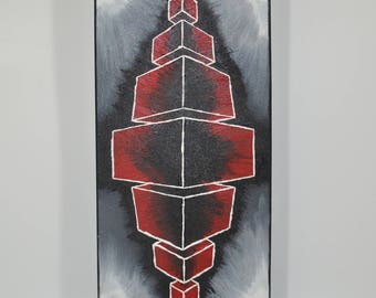 """Contemporary painting """"Build 3D"""" table 20x40cm"""