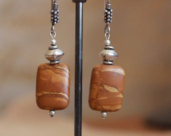 Wood jasper earrings