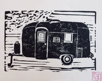 "Linocut print ""Airstream"""