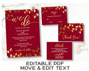Burgundy gold wedding invitation template Burgundy wedding invite Royal wedding invite printable We do invitation Marsala wedding - DIGITAL