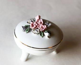 Vintage Rose Footed Trinket Box Candle
