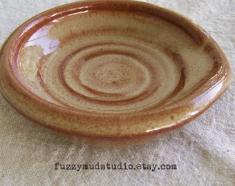Handmade Pottery Spoonrest Wheel Thrown Stoneware Pottery Spoon Rest Ceramic Spoon Rest Earth Tones Natural Colors