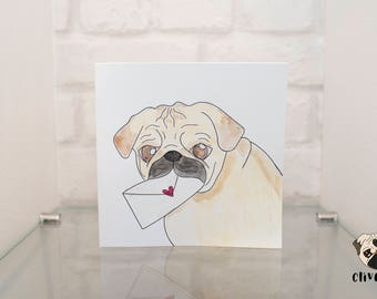 Hand-Drawn, Watercolour Pug Love Letter Valentines Day Card | Clive+Co