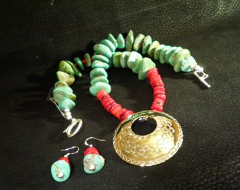 Hand made necklace earring combo set turquoise corral native american jewelery