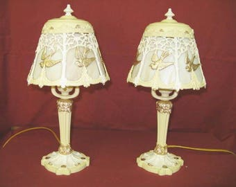 1920s Art Nouveau Boudoir Lamps w/ Slag Glass Shades