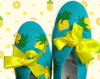 Pineapple hand painted shoes