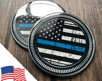 2PCS Jeep Wrangler Custom Badge Emblem (Trail Rated) 07-18 Thin Blue Line Cops Police