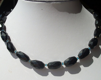 Chain, XXL, spinel, nuggets, petrol-apatite, sterling silver, apatite