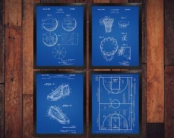 Sports blueprint etsy basketball patent blueprint poster set of 4 basketball gift basketball art sports decor malvernweather Image collections
