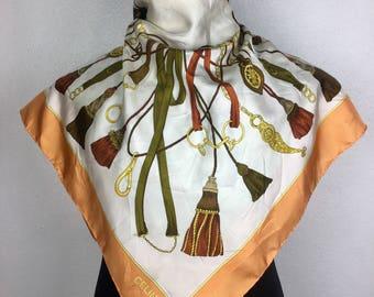 "Celine Scarf Vintage Silk Scarf Gift Ce1 Size 34"""