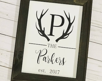 Personalized Antler Sign