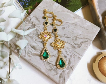 Timeless Luxury Baroque Emerald Green Clip On Earrings