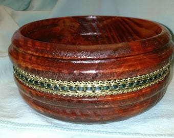Eastern Pine with Redoak stain added gold braid lathe turned wooden bowl
