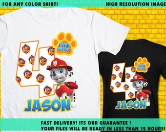 Paw Patrol Iron On Transfer / Paw Patrol Boy Birthday Shirt Transfer DIY / High Resolution / For Any Color Shirt / 12 Hours Turnaround Time