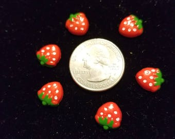 Resin Cute Small Strawberries 8 Pieces for charms/earrings/necklaces/ hairbow/scrapbooking /crafts, etc.