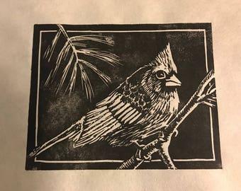 Handmade Cardinal Lino Print