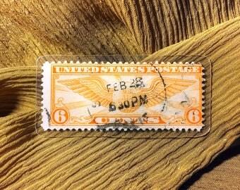 Handmade vintage postage stamp tie clip