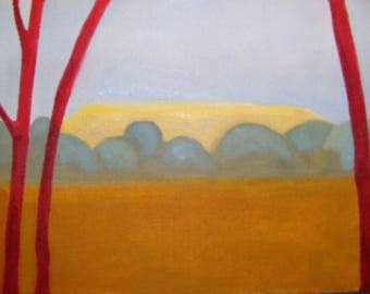 Red Trees and Hillfort. Oil painting