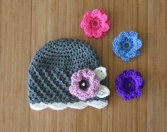 Children's Crochet Wool Flower Hat