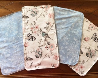 Burp cloths, Baby Burp Cloth, Burp Rag, Flannel Burp Cloth, Floral Burp Cloth, Girly burp rag