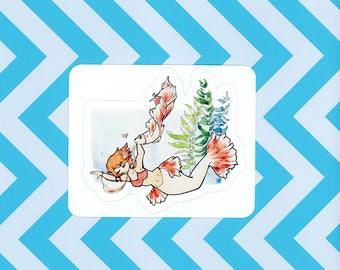 Mermaid and Koi Sticker