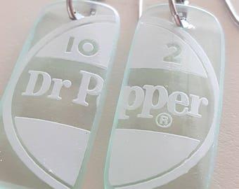 Recycled Dr. Pepper bottle earrings, vintage glass bottle, seafoam, minimalist earrings, vintage glass, silver earwire. Glass dangle earring