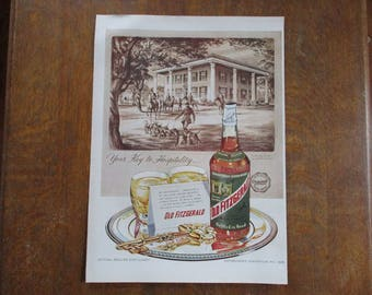 1953 Original Vintage Old Fitzgerald Kentucky Straight Bourbon Whiskey ad