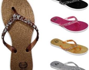 Women's Flip Flops with Gemstone Straps