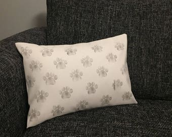 Handmade Paw Print Stamped Cushion Cover
