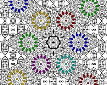 Adult Coloring pages, Star Coloring pages, Printable Instant Digital Download