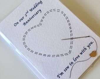 Hand sewn anniversary card