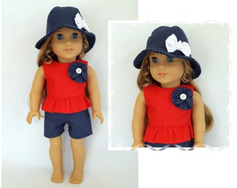 """Top, shorts, hat fits 18"""" dolls such as American Girl"""