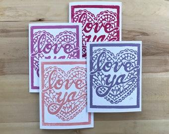 Love Ya Hand Printed Valentine's Card