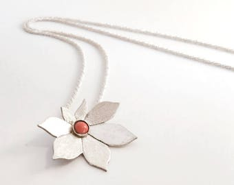 Sterling silver flower necklace with stone | handmade jewelry | flower pendant | made in Israel | women necklace