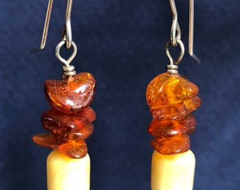 Genuine Amber and Sterling Silver earrings