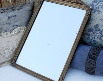 Antique Gilt Wood and Gesso Barbola Mirror