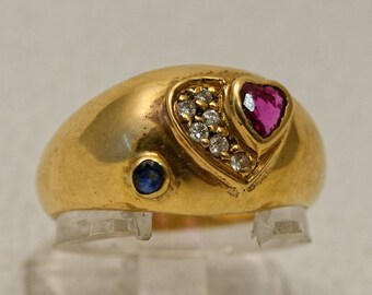 Bangle heart gold, Ruby, Sapphire and diamond ring