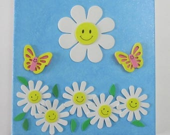 "Kids Spring Flower Mixed Media Bedroom Wall Deco Art 10"" x 10"""