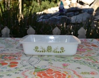 Vintage Glasbake Green Daisy Trim, 8 inch Square Baking Pan & 8.5 inch Loaf Pan