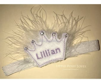 Exclusive Personalized Tiara with NAME and Rhinestones on white fluff.  Leave name you would like on it at checkout. These are ADoRabLe!