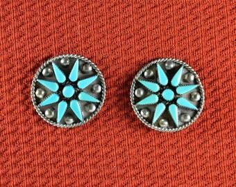 Native American  Zuni Petit Point Post Earrings