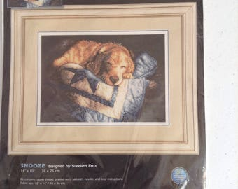 Dimensions Stamped Cross Stitch  Snooze  Designed by Sueellen Ross