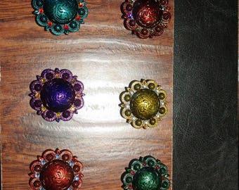 "1 1/2"" Concho Drawer Pull or Cabinet Handles with Swarovski Crystal Rhinestones"
