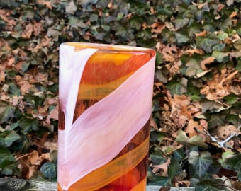 Red with orange and white wrap vase